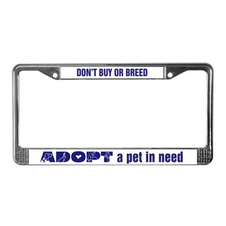 Blue Adopt License Plate Frame