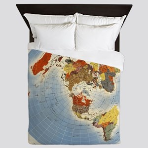Flat Earth Map FOTA WW2 Queen Duvet