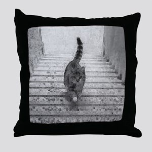 CatStairsLg Throw Pillow