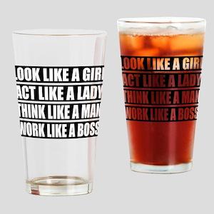 Girl, Work like a Boss Drinking Glass