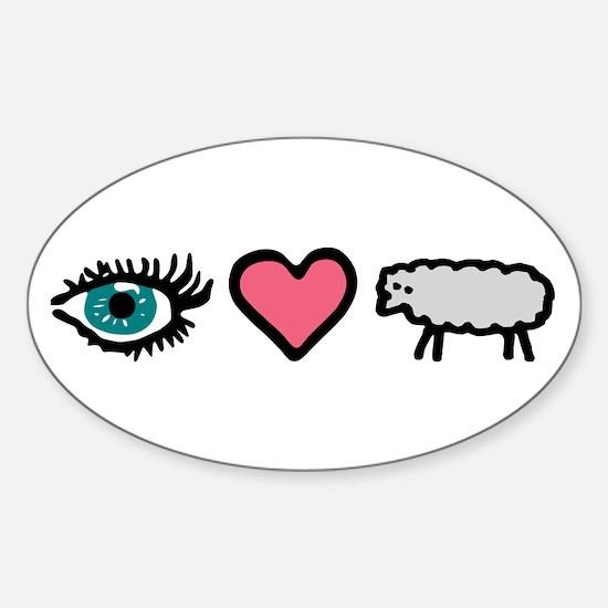 Eye Heart Ewe Oval Decal