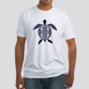 Blue Celtic Turtle Fitted T-Shirt