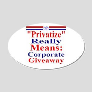 Fight Privatization 22x14 Oval Wall Peel