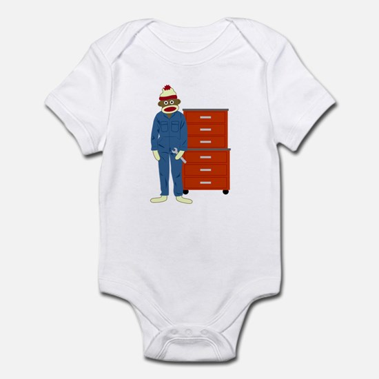 Sock Monkey Mechanic Infant Bodysuit
