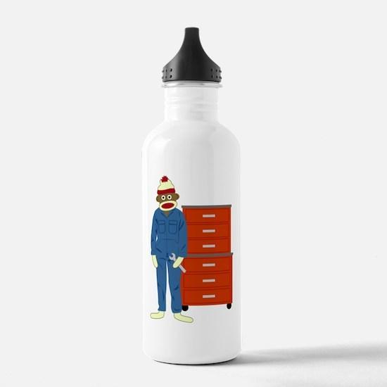 Sock Monkey Mechanic Water Bottle