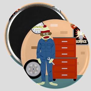 Sock Monkey Mechanic Magnet