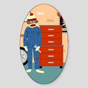 Sock Monkey Mechanic Sticker (Oval)