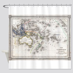 Vintage Map of Oceania (1852) Shower Curtain