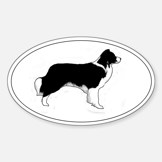 Border Collie Profile Oval Decal