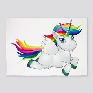Cute_Rainbow_Pony__Clip_Art_Imag 5'x7'Area Rug