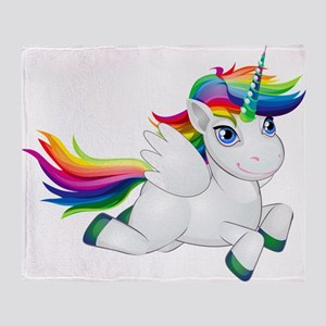 Cute_Rainbow_Pony_PNG_Clip_Art_Image Throw Blanket