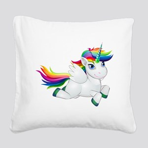 Cute_Rainbow_Pony__Clip_Ar Square Canvas Pillow