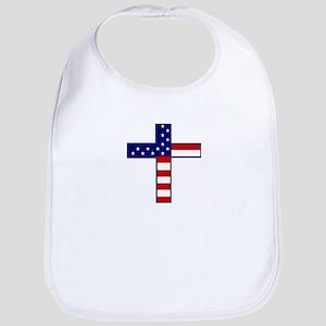 American flag & Cross Bib