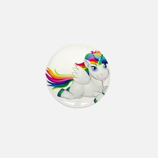 Cute_Rainbow_Pony_PNG_Clip_Art_Image.p Mini Button