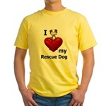 I Love My Rescue Dog Yellow T-Shirt