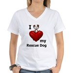I Love My Rescue Dog Women's V-Neck T-Shirt