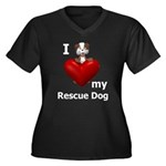 I Love My Rescue Dog Women's Plus Size V-Neck Dark