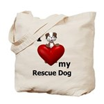 I Love My Rescue Dog Tote Bag