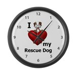 I Love My Rescue Dog Large Wall Clock