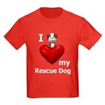 I Love My Rescue Dog Kids Dark T-Shirt