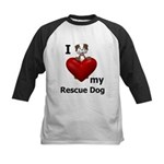 I Love My Rescue Dog Kids Baseball Jersey