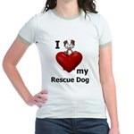 I Love My Rescue Dog Jr. Ringer T-Shirt