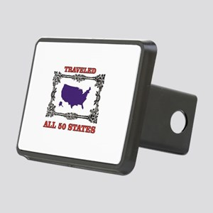 all fifty in blue Rectangular Hitch Cover