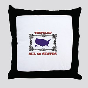 all fifty in blue Throw Pillow