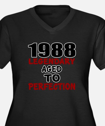 1988 Legenda Women's Plus Size V-Neck Dark T-Shirt