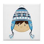 Cute Kid in Wooly Hat Tile Coaster