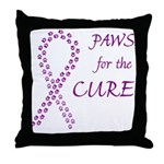 Purple Paws Cure Throw Pillow