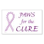 Purple Paws Cure Rectangle Sticker
