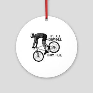 Downhill Mountain Biker Ornament (Round)