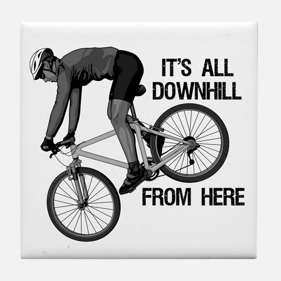 Downhill Mountain Biker Tile Coaster