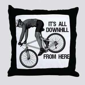 Downhill Mountain Biker Throw Pillow