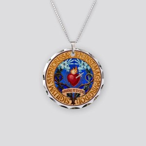 Immaculate Heart Emblem Necklace Circle Charm