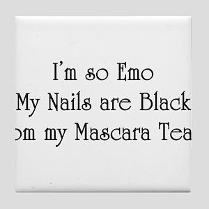so Emo, my black nails Tile Coaster