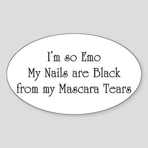 so Emo, my black nails Oval Sticker