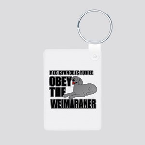 Weimaraner Aluminum Photo Keychain