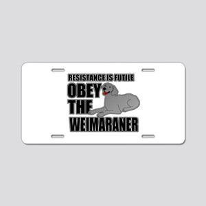 Weimaraner Aluminum License Plate
