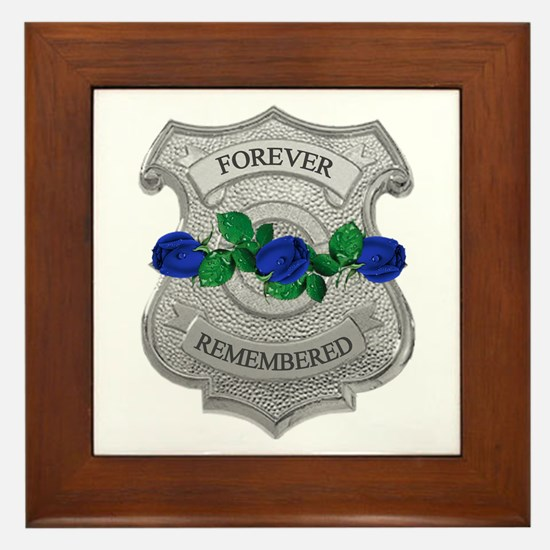 Blue Rose Badge Framed Tile