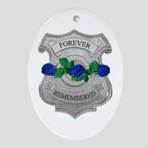 Blue Rose Badge Oval Ornament