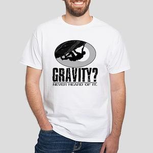 Gravity? Rock Climber White T-Shirt