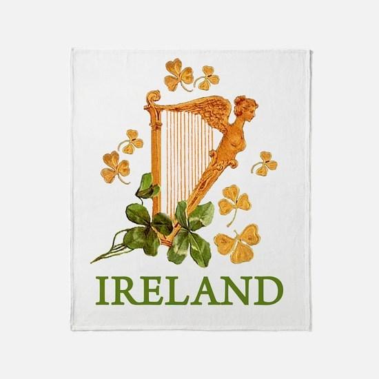 Ireland - Golden Irish Harp Throw Blanket