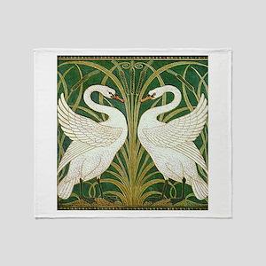 SWANS GREEN Throw Blanket
