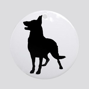 German Shepherd Silhouette Ornament (Round)