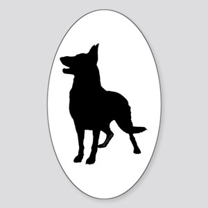 German Shepherd Silhouette Sticker (Oval)