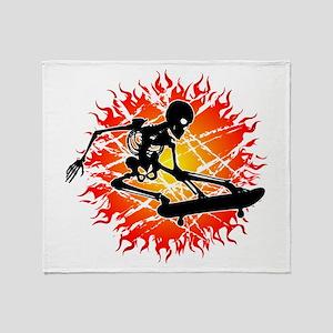 skeleton kickflip Throw Blanket