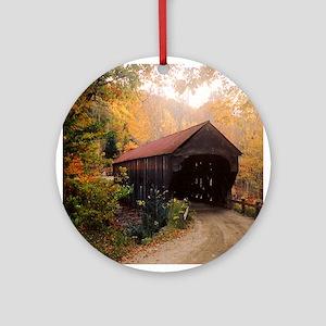 Vermont Covered Bridge Ornament (Round)