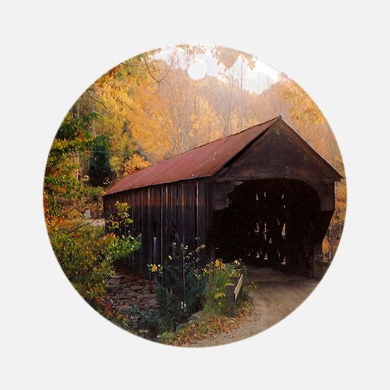 Vermont Covered Bridge Ornament (Round)